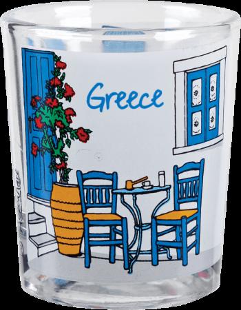 ouzoglaasje Griekse tafel en stoeltjes
