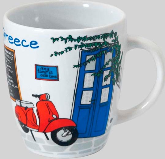 Grieks koffiekopje met vespa