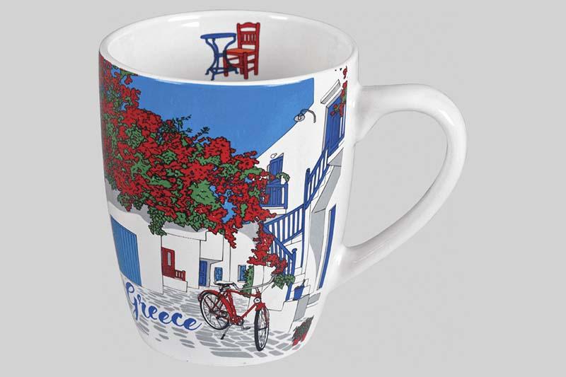 mok grieks tafereel rode fiets
