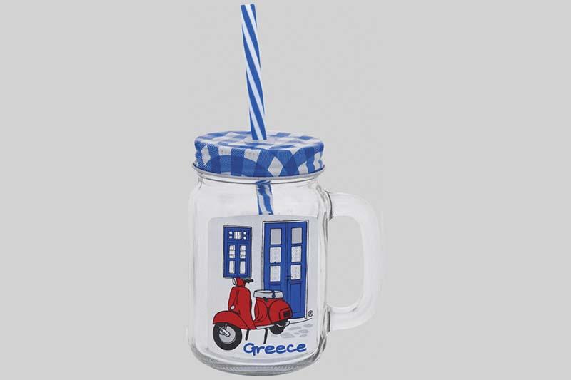 plastic glas met rietje blauw
