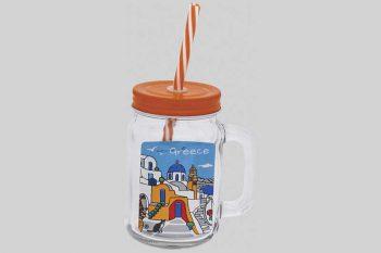 plastic glas met rietje oranje