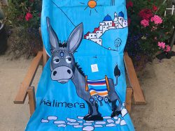 Strandhanddoek kalimera Greece - donkey - ezel Griekenland strandhanddoek