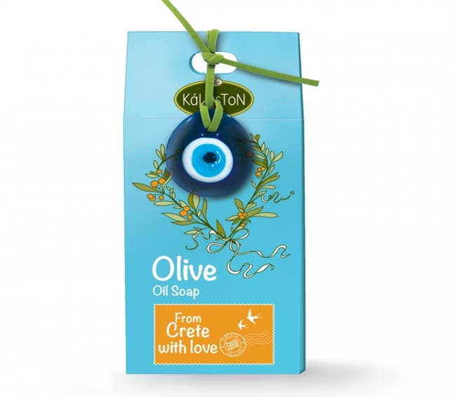 Box with olive oil soap 100gr-Decorative eye