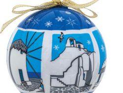 Kerstbal Griekse huisjes en kerkjes