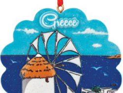 Kersthanger Griekse molen blauw