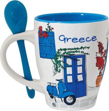 Mok Grieks tafereel en lepeltje