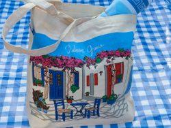 Griekse tas met tafereel en bougainville