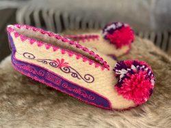 Griekse wollen sloffen roze